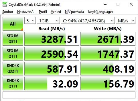 CrystalDiskMark Kingston KC2500 1TB NVME M2