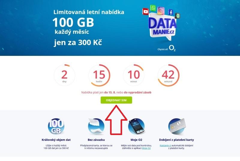 Datamania 100GB O2 sim karta