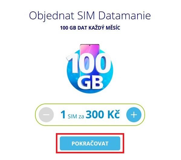 Datamania 100GB O2 sim karta 2