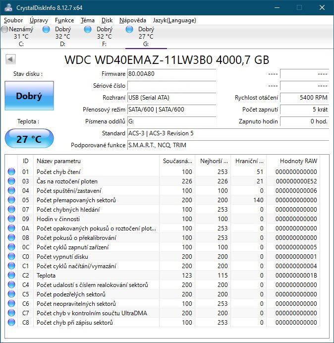 CrystalDiskInfo WD Elements 4TB
