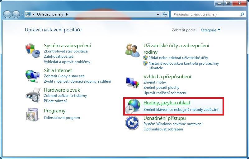 Jak změnit jazyk klávesnice Windows 7