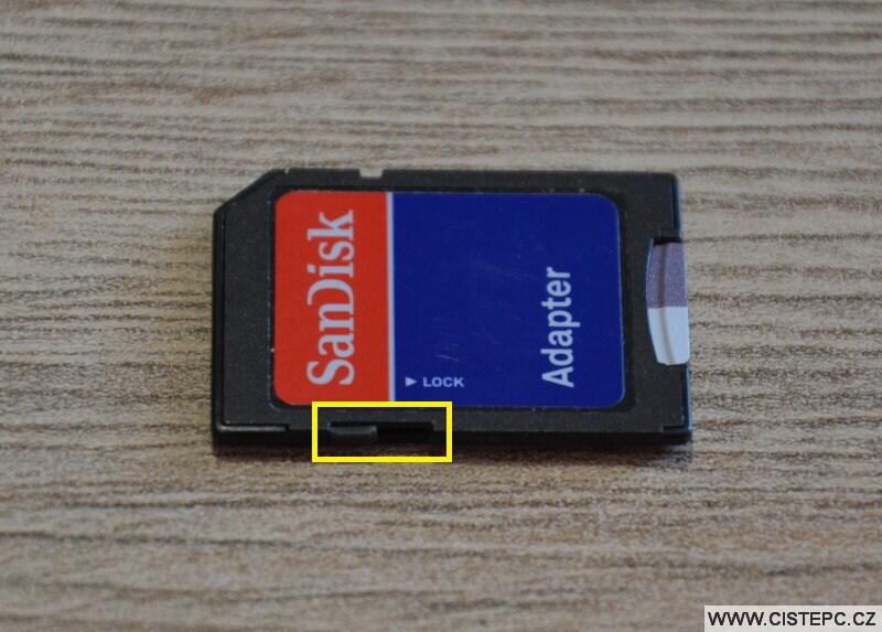 Ochrana proti zápisu SD karta
