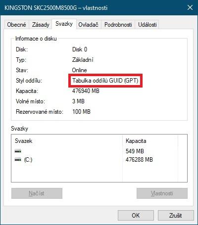 Převod MBR na GPT bez ztráty dat 06